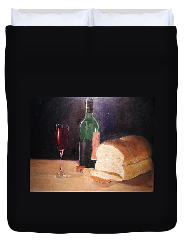 Wine Duvet Cover featuring the painting Untitled by Toni Berry