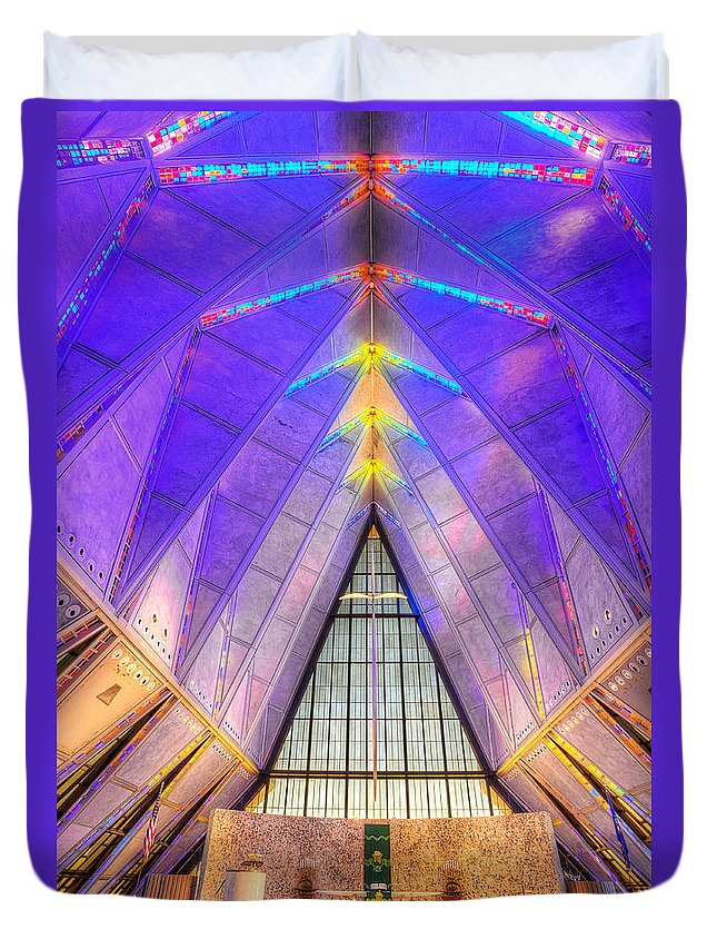 Us Air Force Duvet Cover featuring the photograph Us Air Force Academy Chapel by Jerry Fornarotto