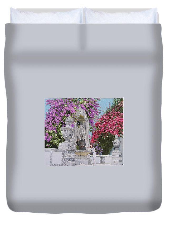 Landscape Duvet Cover featuring the mixed media Vacation In Portugal by Constance Drescher