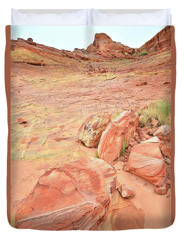 Valley Of Fire State Park Duvet Cover featuring the photograph Valley Of Fire's Wash 3 by Ray Mathis