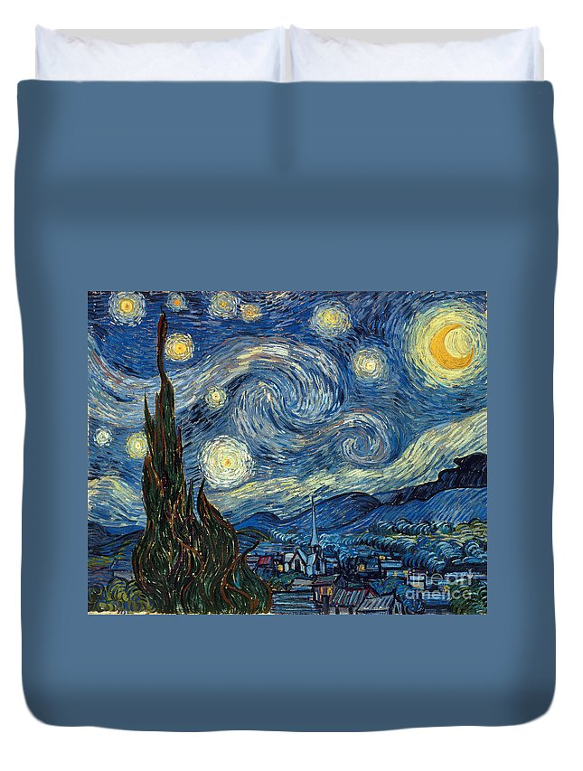 1889 Duvet Cover featuring the painting Van Gogh Starry Night by Granger