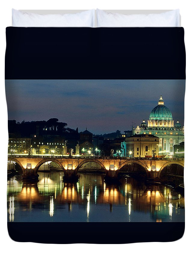 Photo Duvet Cover featuring the photograph Vatican Skyline View Of St Peters Basilica In The Evening by Italian School