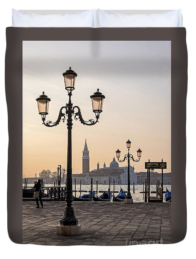 Architectural Duvet Cover featuring the photograph Venice At Sunset by Eden Breitz