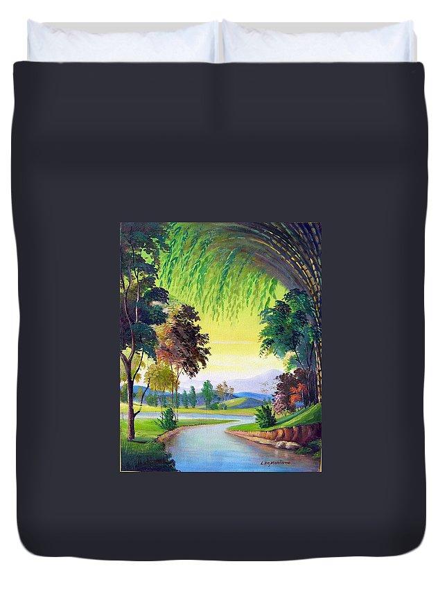 Landscape Duvet Cover featuring the painting Verde Que Te Quero Verde by Leomariano artist BRASIL