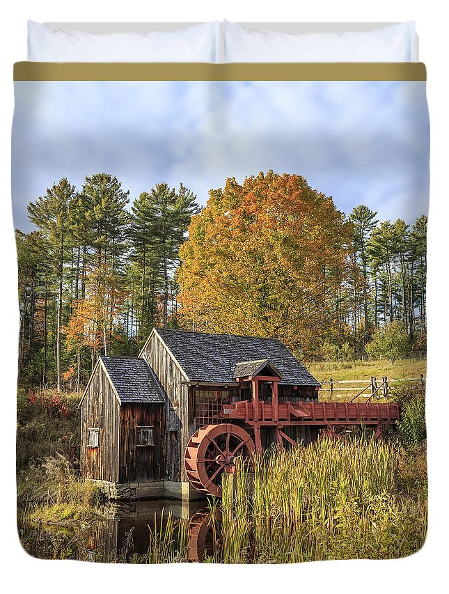 Vermont Duvet Cover featuring the photograph Vermont Grist Mill by Edward Fielding