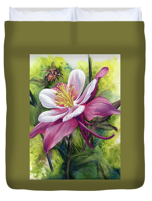 Columbine Duvet Cover featuring the painting Vernal by Barbara Keith