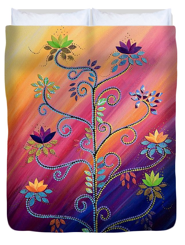 Tree Of Life Duvet Cover featuring the painting Vibrant Tree Of Life by Catherine Barry