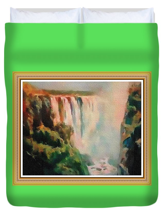 Rural Duvet Cover featuring the painting Victoria Waterfalls L B With Alt. Decorative Ornate Printed Frame. by Gert J Rheeders