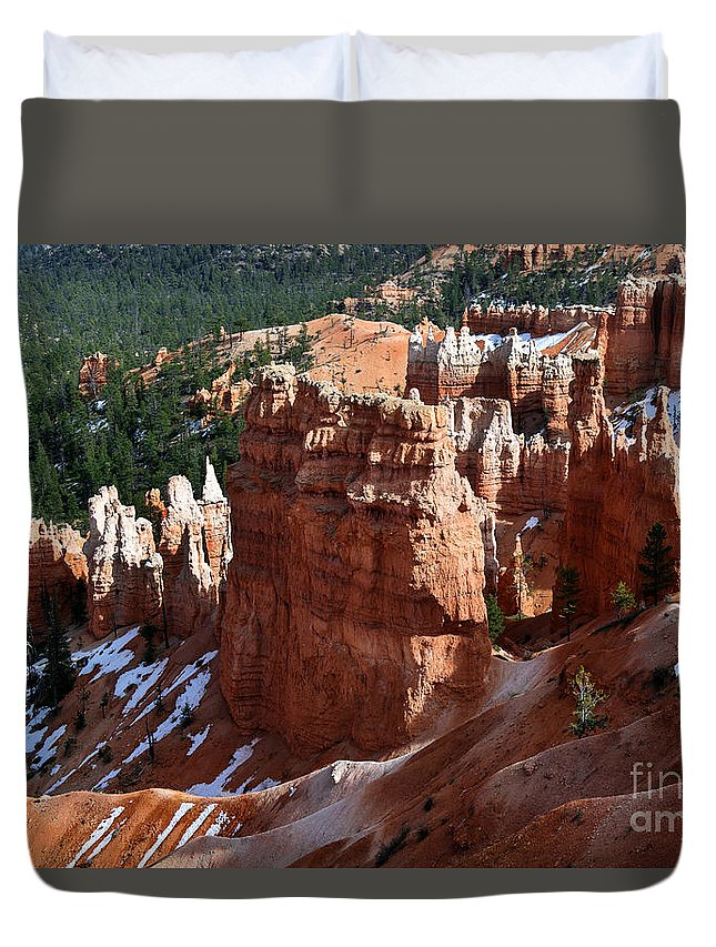 View From Rim Trail Duvet Cover featuring the photograph View From Rim Trail by Yefim Bam