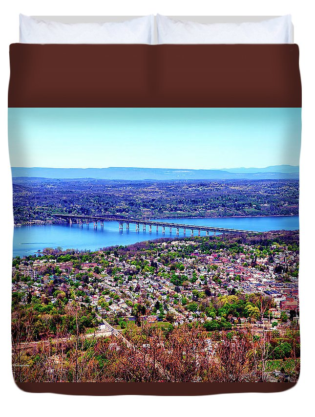 Hudson Highlands Duvet Cover featuring the digital art View From The Top by Christopher Eng-Wong