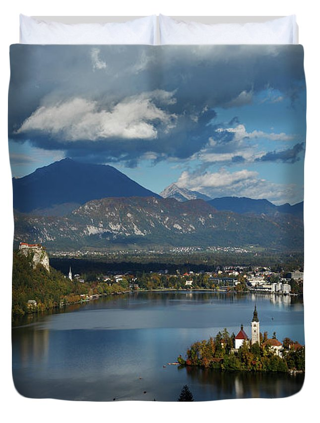 Bled Duvet Cover featuring the photograph View Of Lake Bled From Ojstrica by Ian Middleton