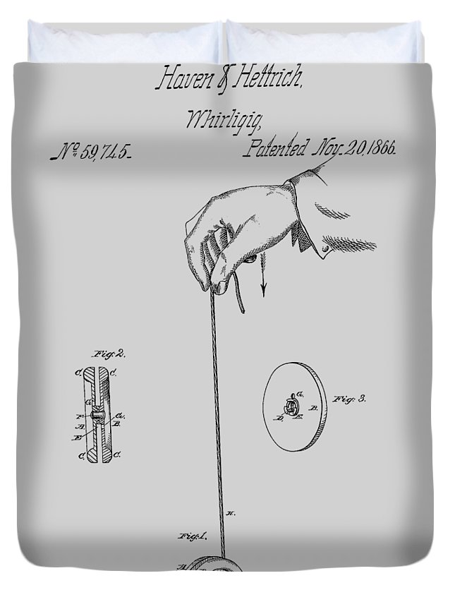 Yoyo Duvet Cover featuring the photograph Vintage Yoyo Patent Drawing From 1866 by Chris Smith