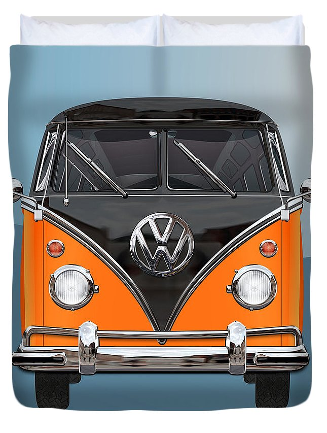 'volkswagen Type 2' Collection By Serge Averbukh Duvet Cover featuring the photograph Volkswagen Type 2 - Black And Orange Volkswagen T 1 Samba Bus Over Blue by Serge Averbukh