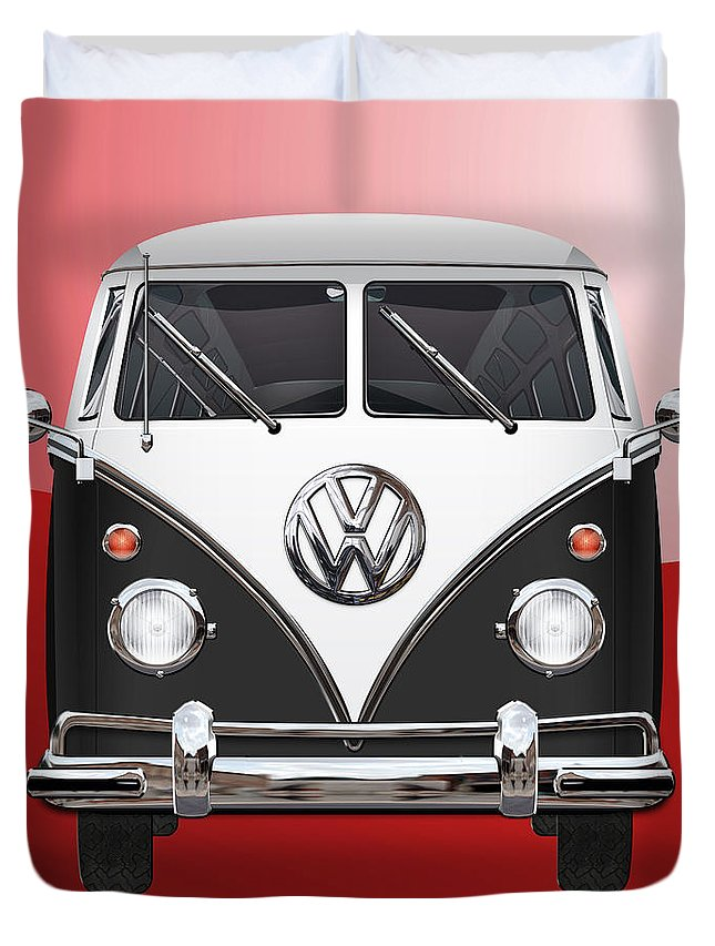 'volkswagen Type 2' Collection By Serge Averbukh Duvet Cover featuring the photograph Volkswagen Type 2 - Black and White Volkswagen T 1 Samba Bus on Red by Serge Averbukh