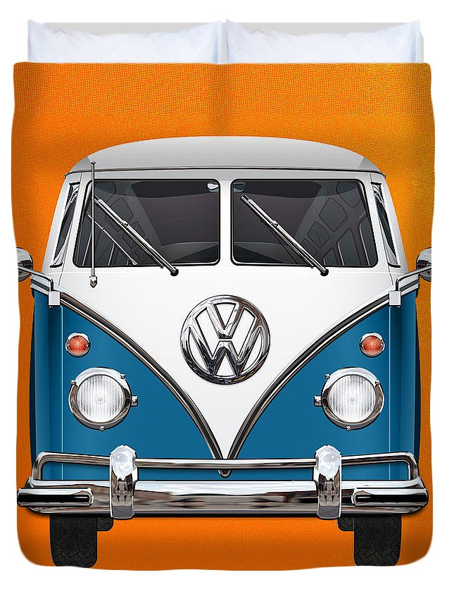 'volkswagen Type 2' Collection By Serge Averbukh Duvet Cover featuring the photograph Volkswagen Type 2 - Blue And White Volkswagen T 1 Samba Bus Over Orange Canvas by Serge Averbukh