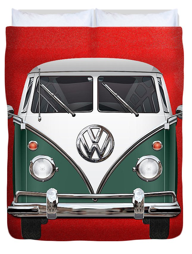 'volkswagen Type 2' Collection By Serge Averbukh Duvet Cover featuring the photograph Volkswagen Type 2 - Green and White Volkswagen T 1 Samba Bus over Red Canvas by Serge Averbukh