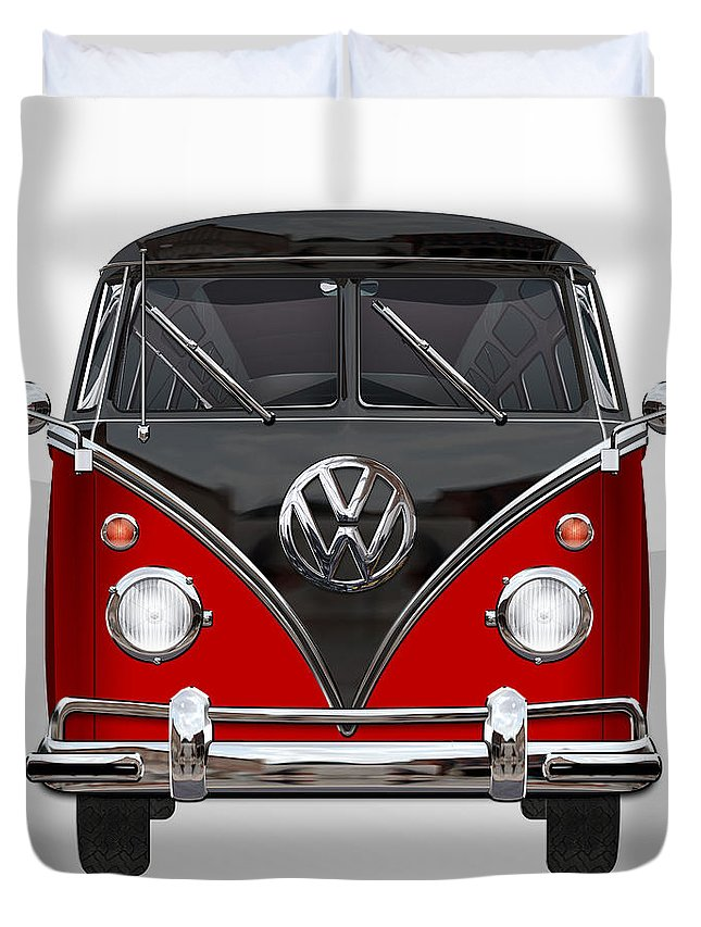 'volkswagen Type 2' Collection By Serge Averbukh Duvet Cover featuring the photograph Volkswagen Type 2 - Red and Black Volkswagen T 1 Samba Bus on White by Serge Averbukh