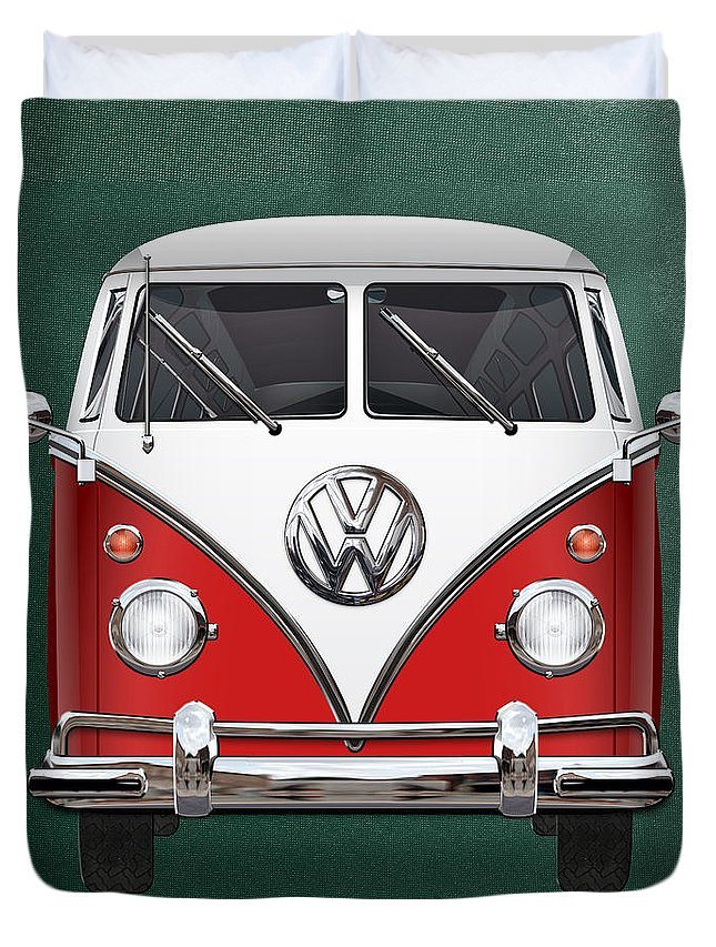 'volkswagen Type 2' Collection By Serge Averbukh Duvet Cover featuring the photograph Volkswagen Type 2 - Red And White Volkswagen T 1 Samba Bus Over Green Canvas 1 by Serge Averbukh