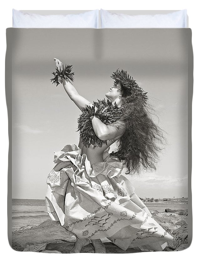 Active Duvet Cover featuring the photograph Wahine Hula by Himani - Printscapes