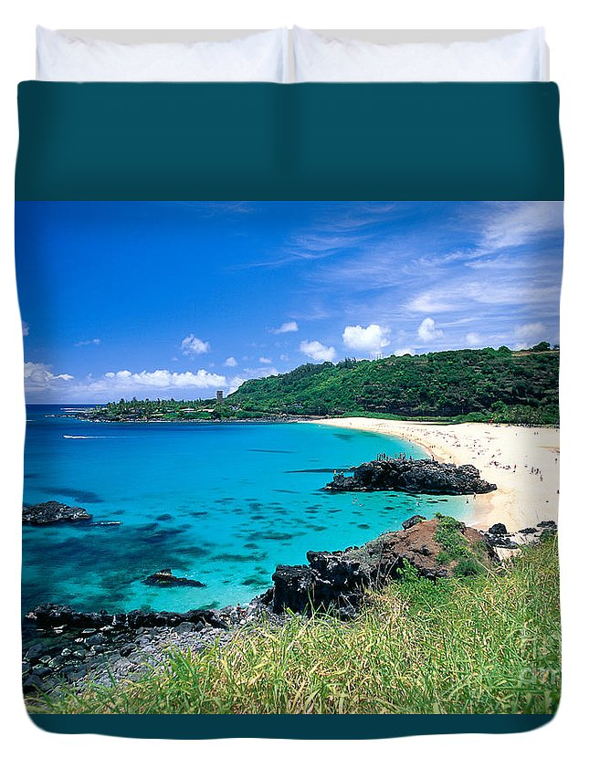 Afternoon Duvet Cover featuring the photograph Waimea Bay by Mary Van de Ven - Printscapes