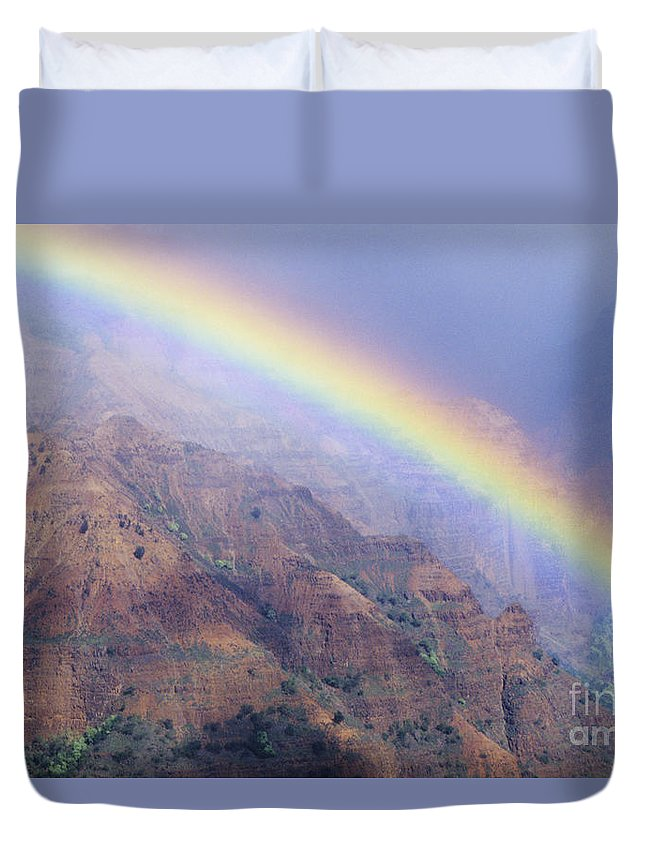 Aerial Duvet Cover featuring the photograph Waimea Canyon Rainbow by Brent Black - Printscapes