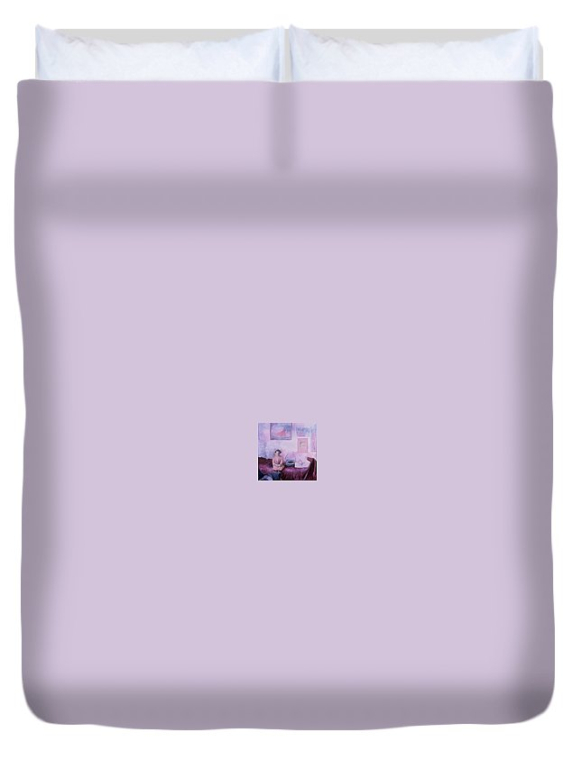 Little Girl Duvet Cover featuring the painting Waiting by Connie Freid