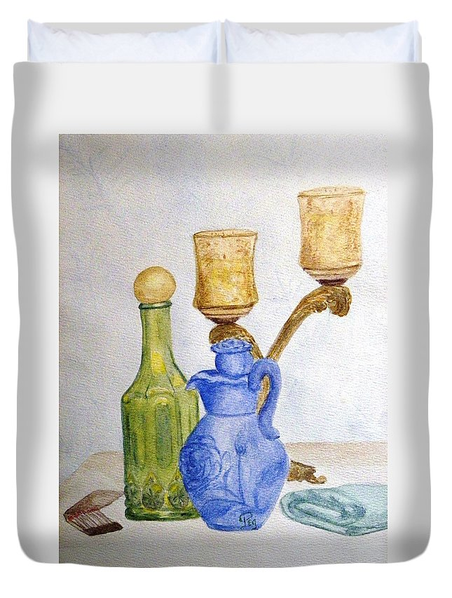 Still Life Painting Duvet Cover featuring the painting Waiting For The Bath by Peggy King