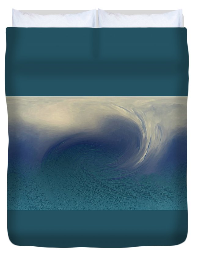 Abstract Wave Blue White Duvet Cover featuring the digital art Water And Clouds by Linda Sannuti