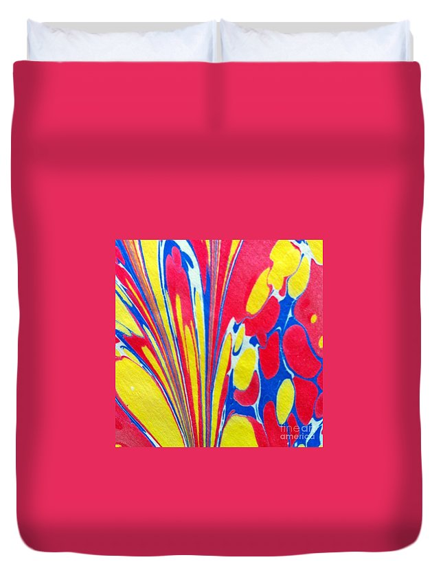 Abstract Duvet Cover featuring the painting Water Marbling Art, Ebru by Dilan C