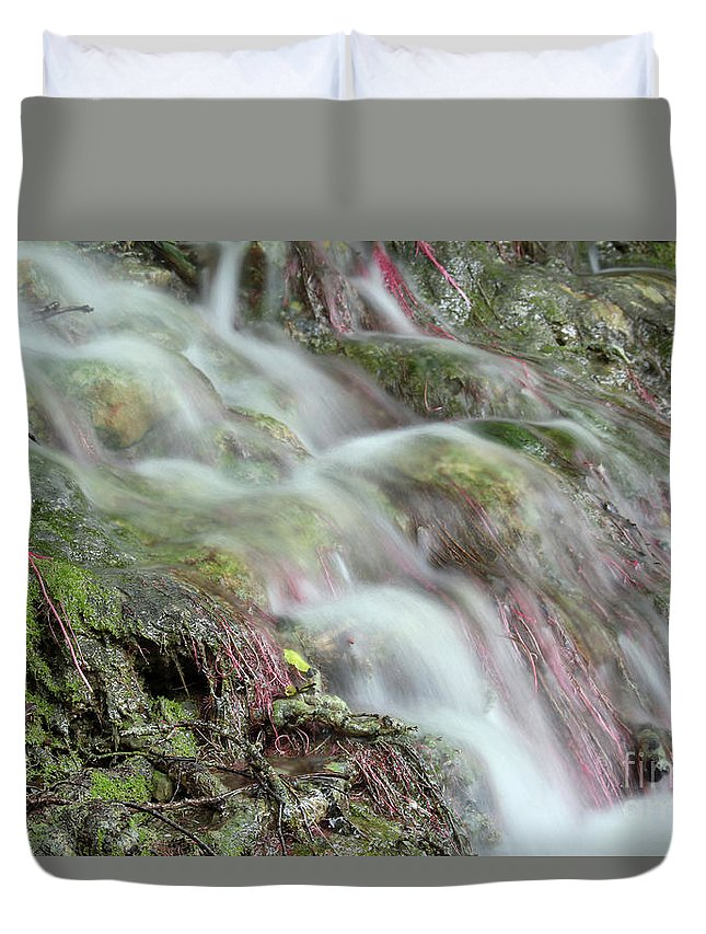 Waterfall Duvet Cover featuring the photograph Water Spring Scene by Goce Risteski