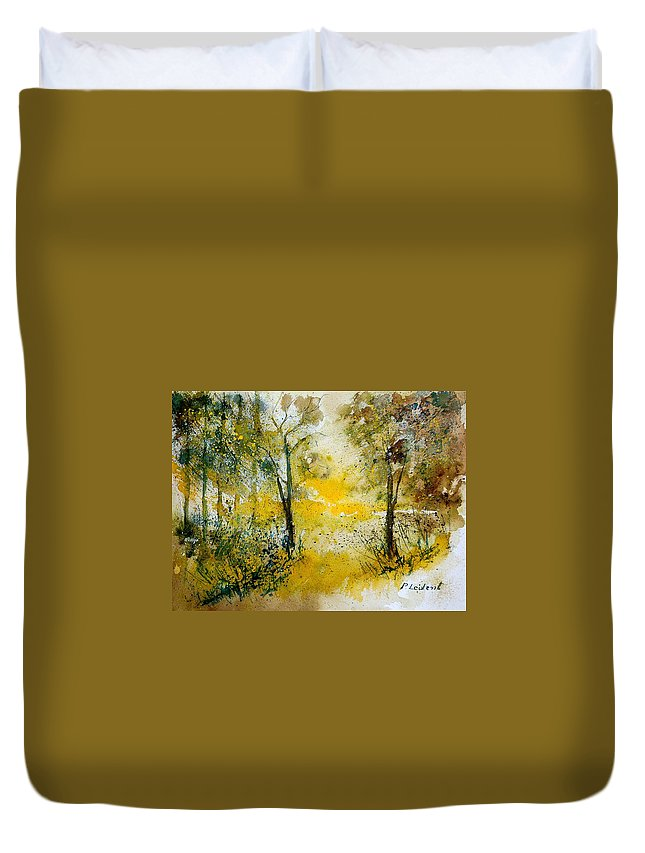 Tree Duvet Cover featuring the painting Watercolor 210108 by Pol Ledent