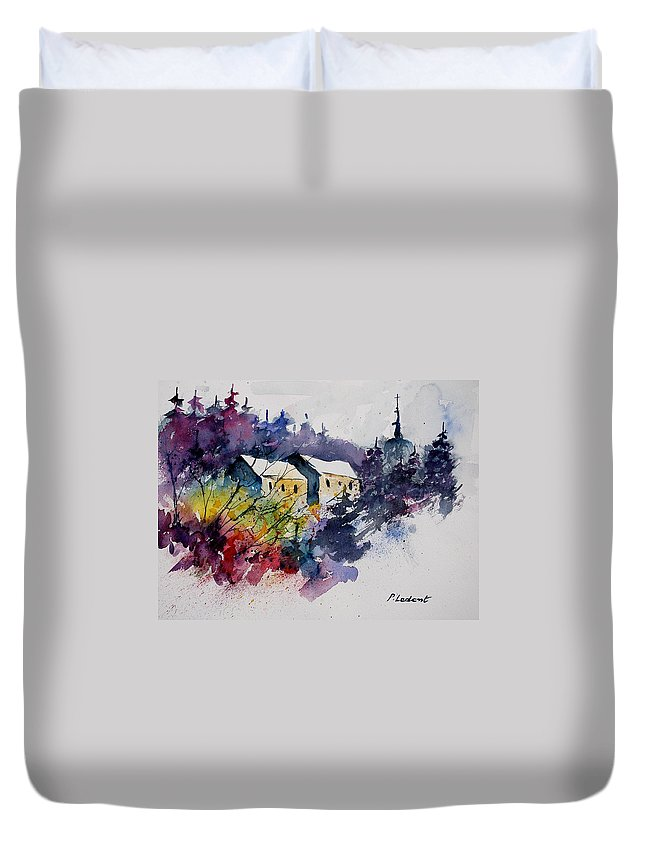 Winter Duvet Cover featuring the painting Watercolor 231207 by Pol Ledent