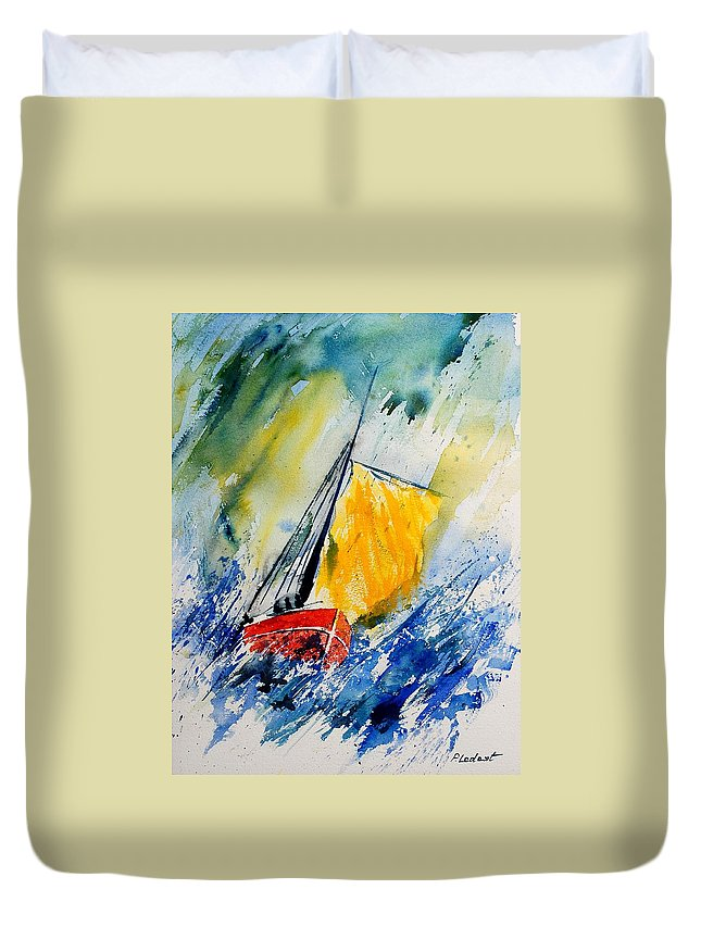 Sea Duvet Cover featuring the painting Watercolor 280308 by Pol Ledent