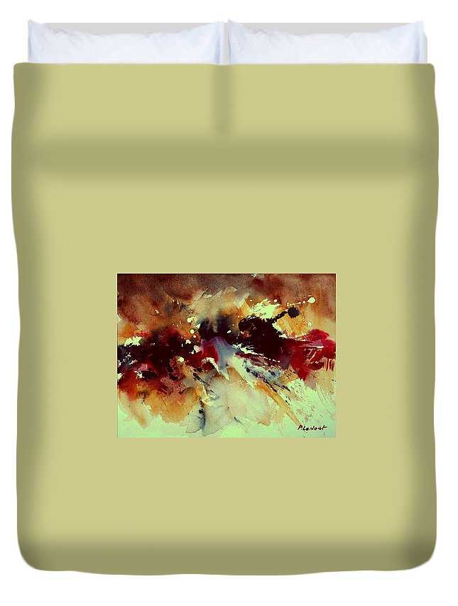 Abstract Duvet Cover featuring the painting Watercolor 301107 by Pol Ledent