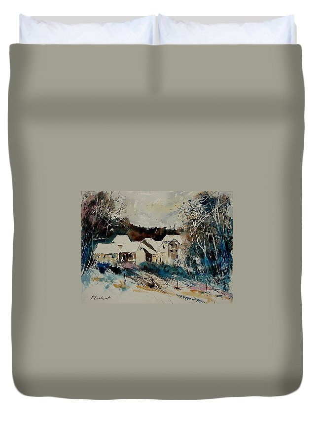 Winter Duvet Cover featuring the painting Watercolor 902040 by Pol Ledent