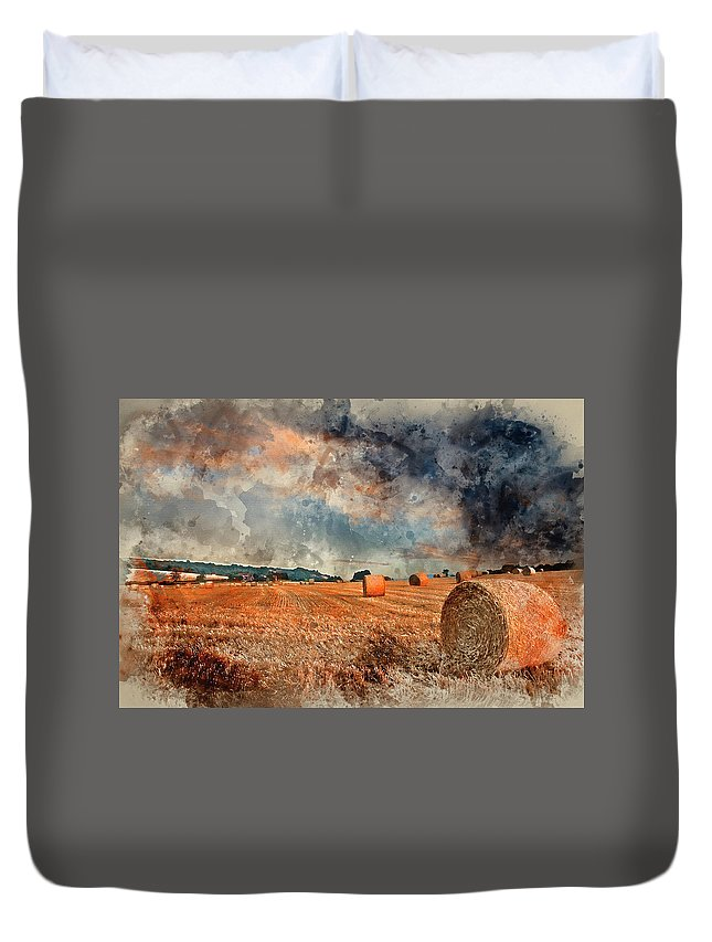 Landscape Duvet Cover featuring the photograph Watercolour Painting Of Beautiful Golden Hour Hay Bales Sunset L by Matthew Gibson