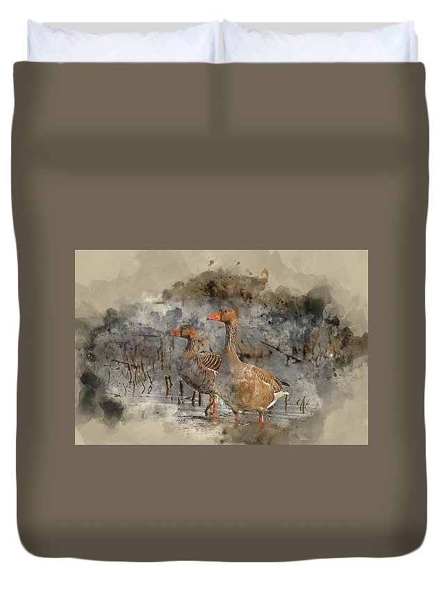 Bird Duvet Cover featuring the photograph Watercolour Painting Of Beautiful Greylag Goose Anser Anser In W by Matthew Gibson