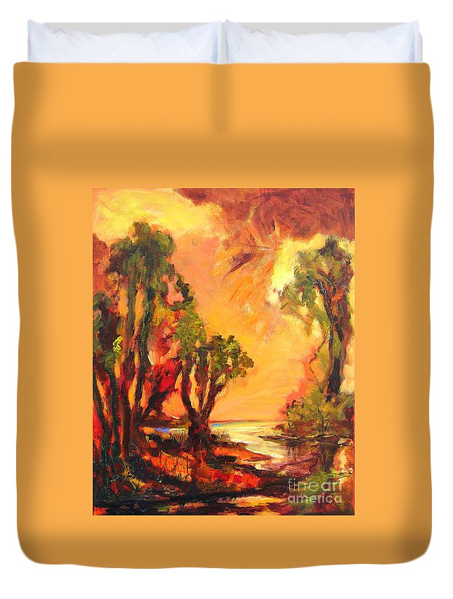 Framed Landscape Prints Duvet Cover featuring the painting Waterway by Julianne Felton
