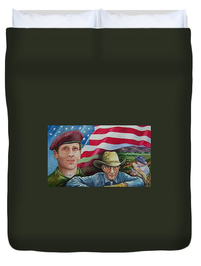 Soldier Duvet Cover featuring the painting We Hold These Truths by Gale Cochran-Smith
