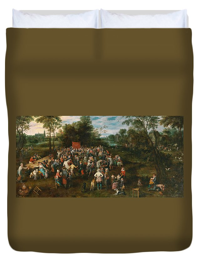Arts Duvet Cover featuring the painting Wedding Banquet by Jan Brueghel the Elder