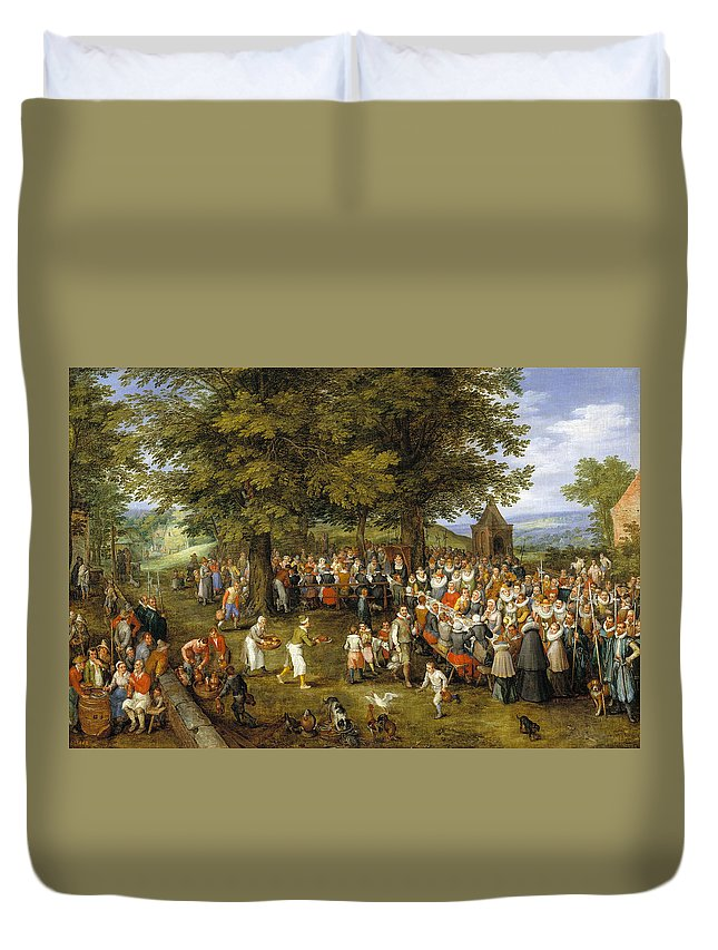 Baroque Duvet Cover featuring the painting Wedding Banquet Presided Over By The Archduke And Infanta by Jan Brueghel the Elder