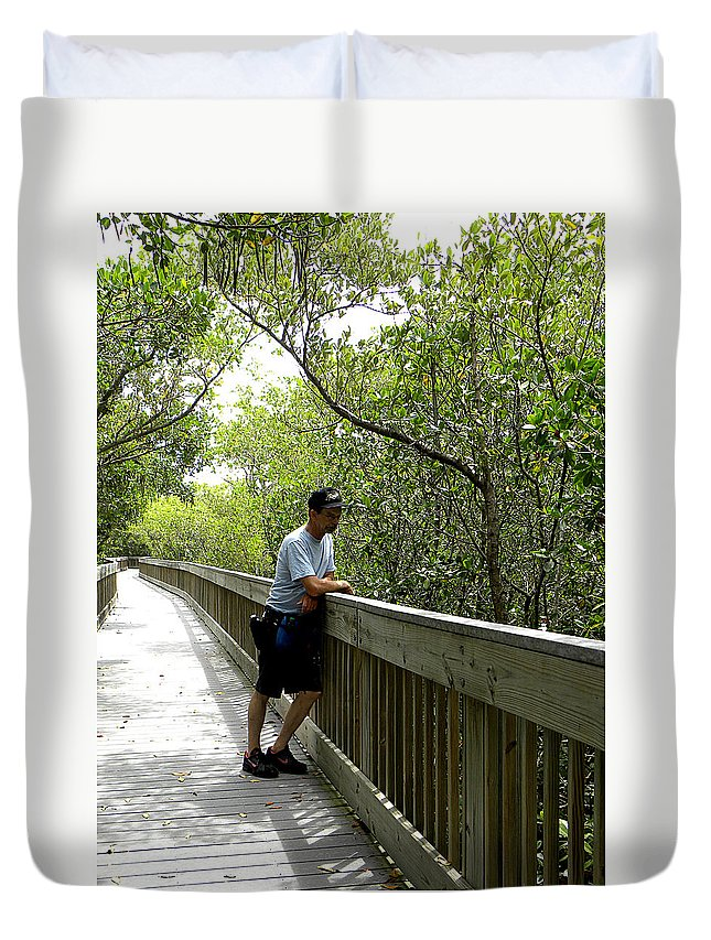Weedon Island Duvet Cover featuring the photograph Weedon Island Boardwalk by Chris Mercer