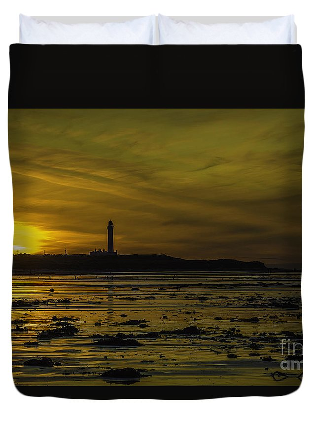 West Duvet Cover featuring the photograph West Beach Sunset by Alex Millar