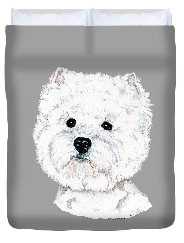 West Highland White Terrier Duvet Cover featuring the drawing West Highland White Terrier, Westie by Kathleen Sepulveda