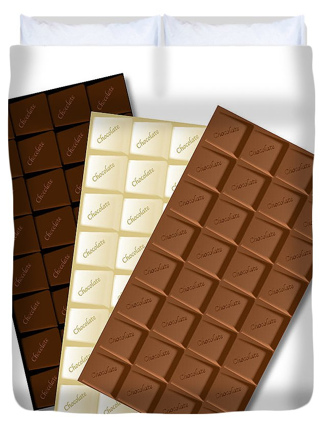 Chocolate Duvet Cover featuring the digital art White Chocolate Bar by Bigalbaloo Stock