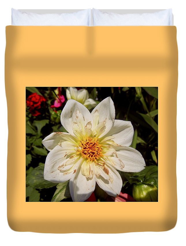 Flower Duvet Cover featuring the photograph White Flower by Stephanie Moore