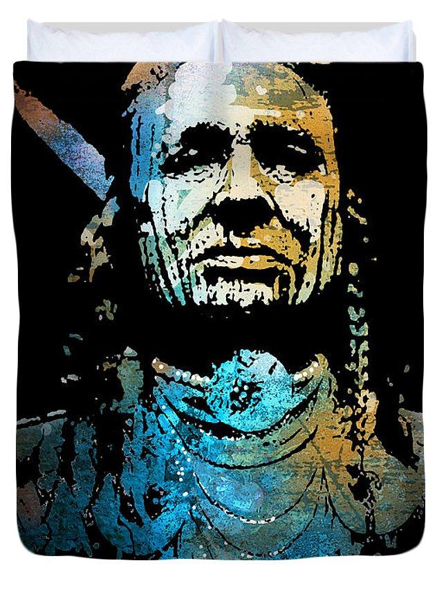 Native American Duvet Cover featuring the painting White Man Runs Him by Paul Sachtleben