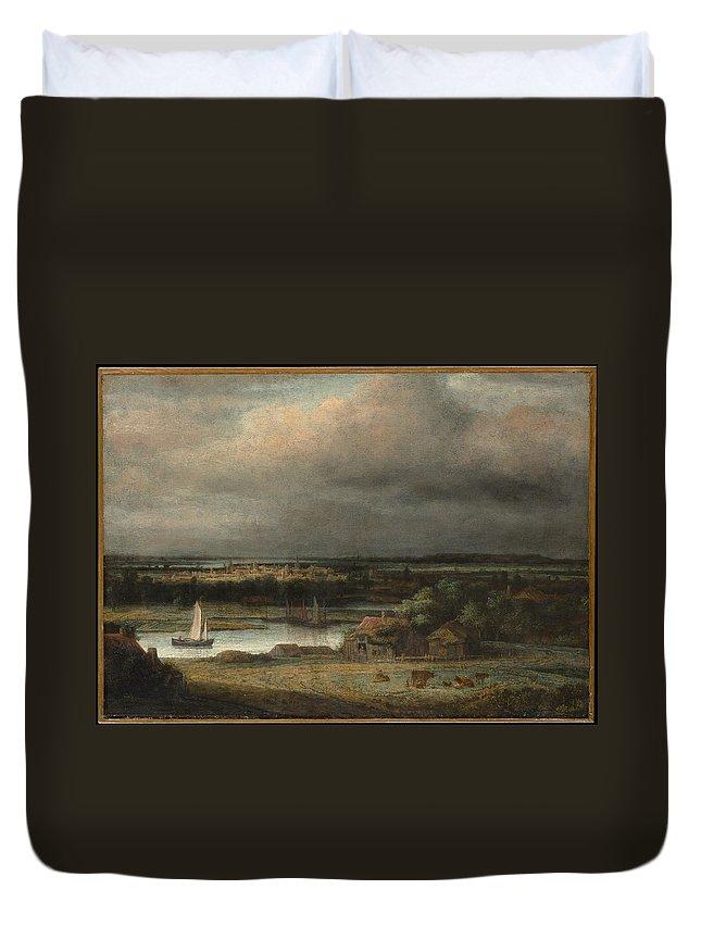 Philips Koninck Wide River Landscape Duvet Cover featuring the painting Wide River Landscape by Philips Koninck