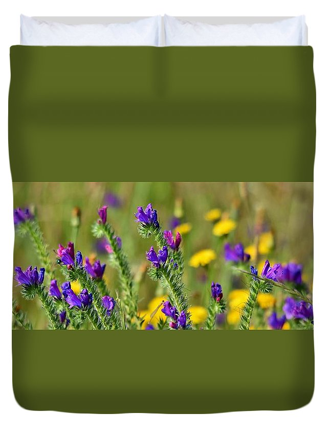 Panorama; Yellow; Blue; Flowers; Meadow; Grass; Green; Plants; Flora; Background; Werner Lehmann; Duvet Cover featuring the photograph wild Flowers by Werner Lehmann