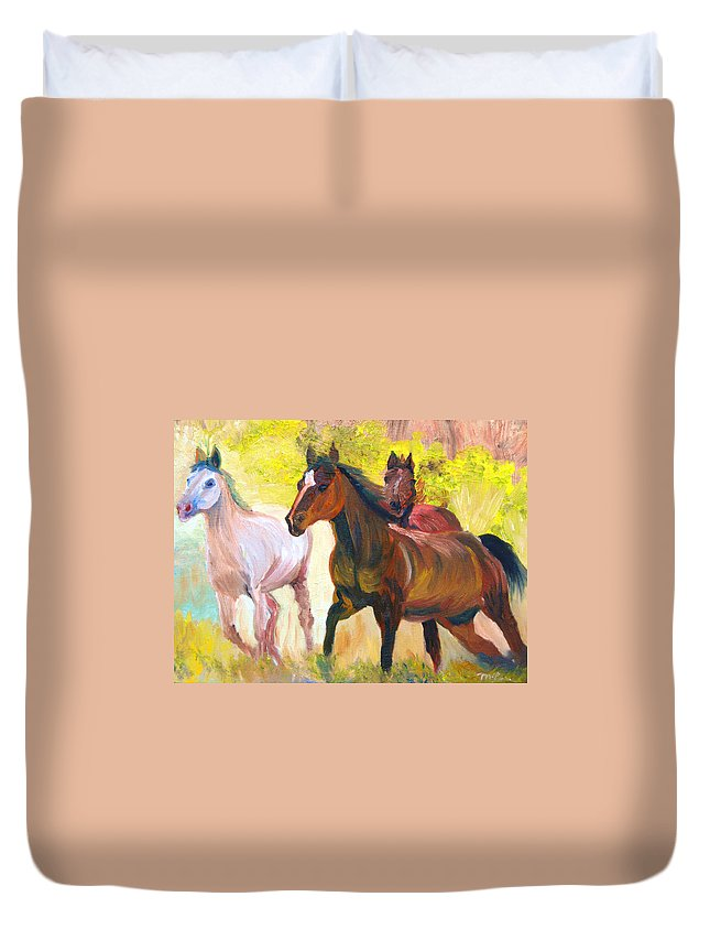 Wild Horses Duvet Cover featuring the painting Wild Horses Running by Michael Lee